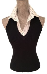 The Limited And V-neck Detachable Collar Cotton Size Small Black/White Halter Top