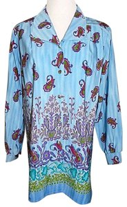 Maggie Sweet Button Front Shirt Tunic Paisley Print Style 5109 Button Down Shirt Blue, Multi-Color