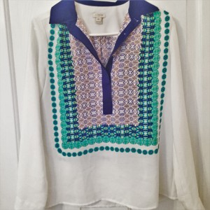 J.Crew Longsleeve Lightweight Top White with Blue/Green/Purple Print