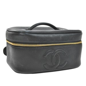 Chanel Chanel Black Leather Cosmetic Case