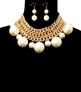 Chunky Pearl Gold Chain Necklace Set