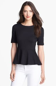 Theory Fit And Flare Peplum Form Fitting Top Black