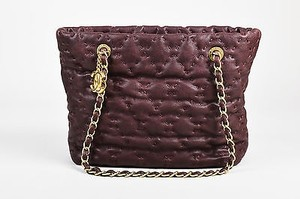 Chanel Plum Caviar Leather Gold Road Tote in Purple