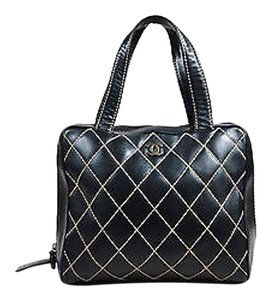 Chanel Tan Quilted Square Top Zip Tote in Black