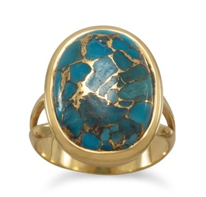 La Bella Rose 14K Gold Sterling Silver Stabilized Turquoise Ring - 83683