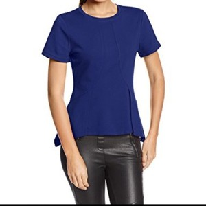 BCBGMAXAZRIA Fit And Flare Peplum Form Fitting Top Blue
