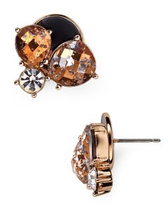 Kate Spade kate spade Fame and Flowers Rose Gold & Black Crystal Studs 12k