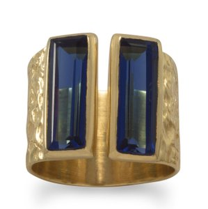 La Bella Rose 14K Gold Sterling Silver Dark Blue Hydro Glass Ring - 83685