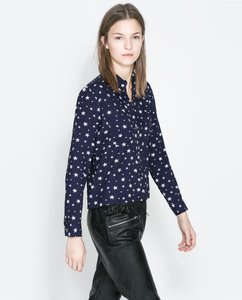 Zara Button Down Long Sleeve Top Navy