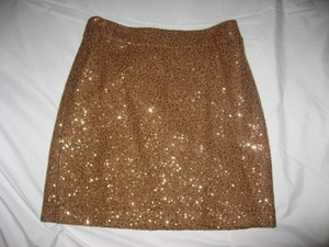 Ann Taylor LOFT Mini Skirt Camel with Seqins
