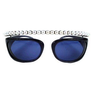Chanel ULTRA RARE PEARL SUNGLASSES 2003 BLACK VINTAGE ROUND HALF TINT CAMERA