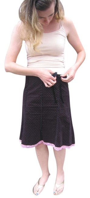 Forever 21 Corduroy Lace Trim Skirt Black with pink