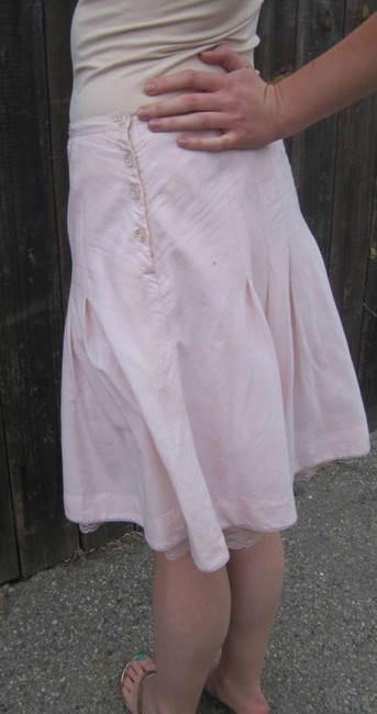 Odille Cotton Button Detail Skirt Pink Pale Pink