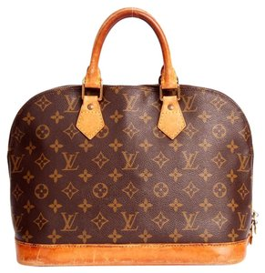 Louis Vuitton Alma Monogram Totes Canvas Satchel in Brown