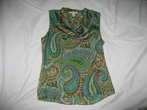 Banana Republic Top Multi colored with tans, blues, greens, browns