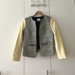 Club Monaco Ivory/metallic Leather Jacket