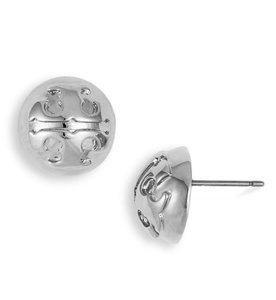 Tory Burch Tory Burch 50005803 Women's Domed Logo Silver Plated Earrings NEW!