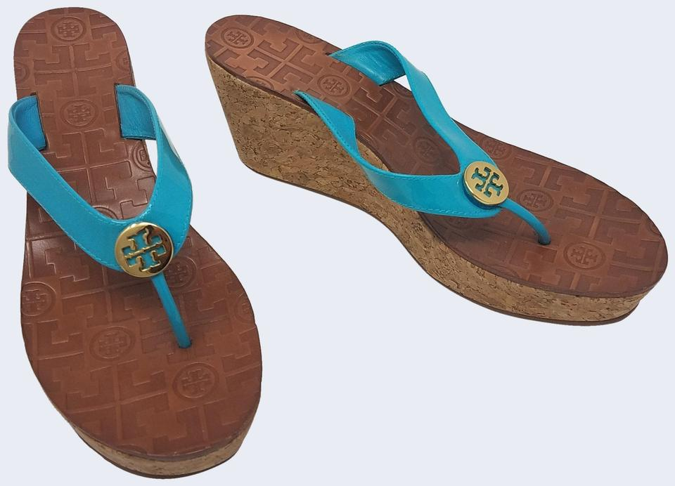 a90282f52 Tory Burch Blue Gold Patent Thora Logo Cork Sandals Wedges Size US ...