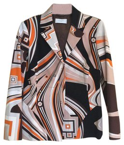 Emilio Pucci Multi. Black, brown, orange, cream, grey, p Blazer