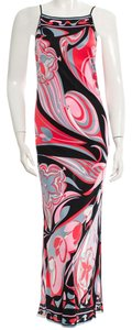 Emilio Pucci Sleeveless Silk Maxi Print Monogram Dress
