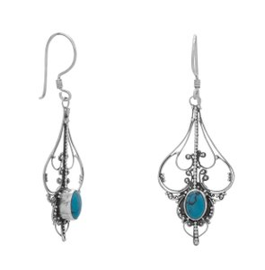 La Bella Rose .925 Sterling Silver Bali Turquoise Earrings - 62346