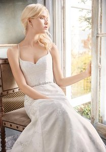 Alvina Valenta White/Ivory with Metallic Silver Threading Marbled Jacquard New Unaltered Fluted Gown #9600 Wedding Dress Size 12 (L)