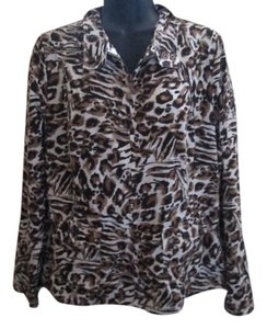 Chico's Animal Print Lightweight Fall Brown & Beige Jacket
