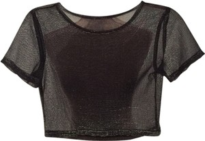 Express Sheer Crop Evening Out Dressy Date Night Sexy Casual Top Black Metallic