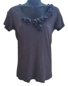 J.Crew Knit Rosette Casual Rose T Shirt Grey