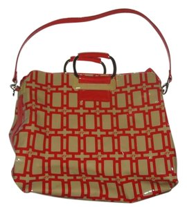 Roger Vivier Tote in Red and Tan with Silver hardware