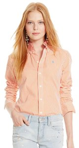 Ralph Lauren Button Up Button Down Shirt Orange and white