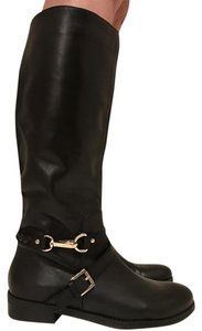 Tommy Hilfiger Leather Riding Tall Buckle Black Boots