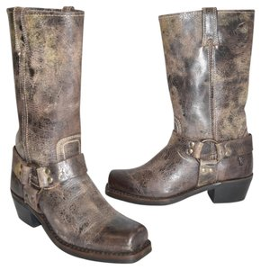 Frye Moto Riding DISTRESSED CRACKLED LEATHER Boots
