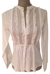 Sheer Button-downs Top White