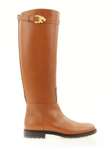 Valentino Knee High Lion Gold Animal Leather Brown Boots