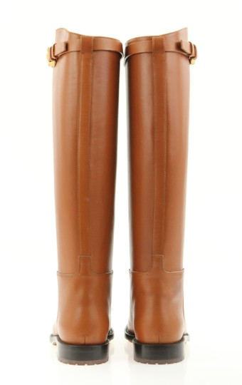 Valentino Knee High Lion Gold Animal Leather Brown Boots Image 3