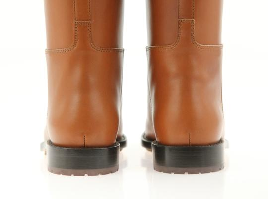 Valentino Knee High Lion Gold Animal Leather Brown Boots Image 4