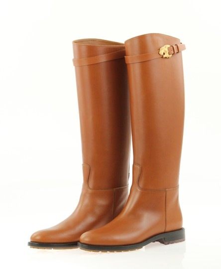 Valentino Knee High Lion Gold Animal Leather Brown Boots Image 5