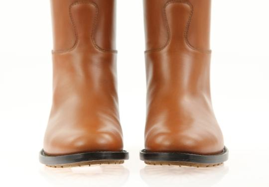 Valentino Knee High Lion Gold Animal Leather Brown Boots Image 7