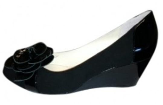 Taryn Rose Black Suede with Black Patent Trim Wedges