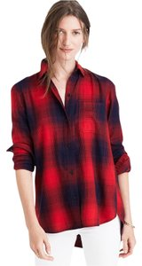 Madewell Flannel Button Down Shirt Red plaid