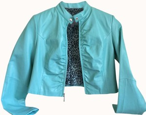 Wilsons Leather Maxima Crop Blue Sea Foam Green Leather Jacket