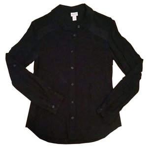 Mossimo Supply Co. Lace Night Out Professional Button Down Shirt Black
