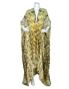 Maxi Dress by Roberto Cavalli Silk Leopard Print Kaftan High-low