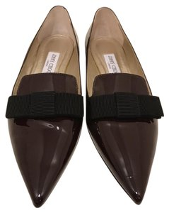 Jimmy Choo Patent Leather Bow Maroon Maroon/Burgundy Flats