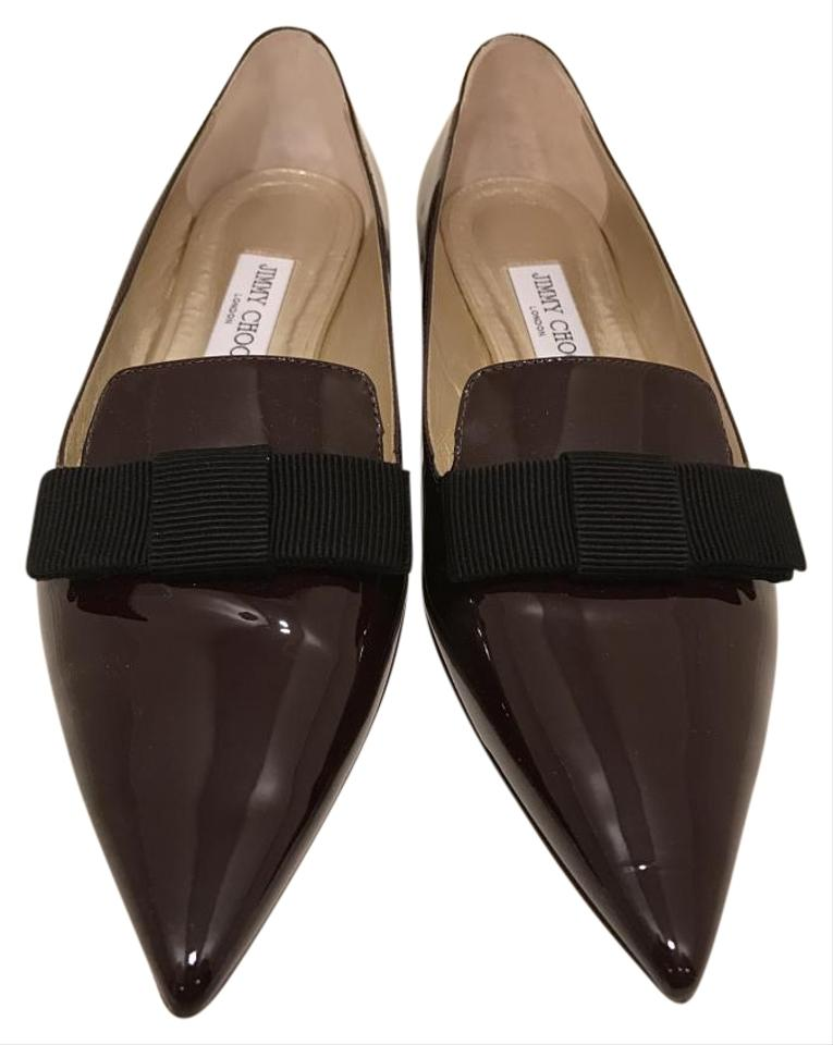 b81bfb4f237 Jimmy Choo Patent Leather Pointed Toe Maroon Burgundy Flats Image 0 ...