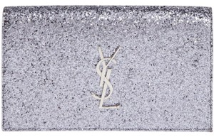 Saint Laurent New Tags Kate Monogram Ysl Silver Clutch