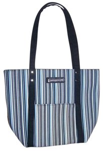 Longaberger Tote in Navy blue, light blue and white with black
