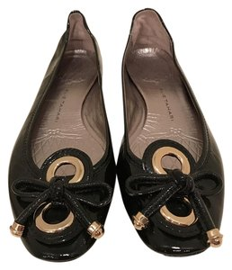Elie Tahari Faux Patent Gold Bow Glossy Black Flats