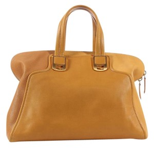 Fendi Fi.k0817.04 Tan Brown Yellow Leather Satchel